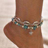 Huitan Summer con elegantes accesorios Tobilleros para mujer Linda tortuga colgante con diseño azul de color de color azul lotes vendiendo