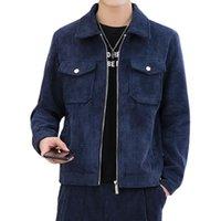 Jaqueta dos homens jaqueta homens outono solto ferramental corduroy outerwear casual manga comprida slim tops casacos de zíper sólido roupas de trabalho de rua