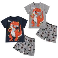 Kids Clothing Sets Boy Suit Boys Children Outfit Summer Dinosaur Print Short-Sleeved Top T-shirts Shorts Two-Piece Childrens Wear B7488