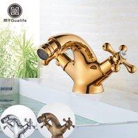 MyQualife Gold Bidet Basin Torneira Dual Handles Água Pia do Banheiro Brass Único Buraco Plataforma Montada Mixer Mixer Torneira