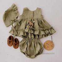 Ins zuigeling kinderen katoen linnen kleding sets zomer prinses outfits voor baby meisjes falbala vest jurk + zachte comfortabele PP shorts 2 stks q0452
