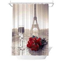 샤워 커튼 vinage 에펠 탑 커튼 빨간 장미 투명 와인 유리 욕실 레트로 프랑스 도시 풍경 패브릭 장식