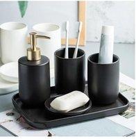 Conjunto de lavagem de cerâmica Decoração do banheiro acessórios loção garrafa saboneteira prato preto storageTray chuveiro gel distribuidor casa doméstica bathr