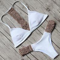Bikinis Set 2021 Summer Women Bikini Crochet Swimwear Push Up Knitting Hollow Out Swimsuit Bathing Suit Holiday Beachwear