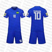 Çocuklar Yetişkin Çocuk Kaptan Tsubasa Futbol Tshirt Nankatsu İlköğretim Okulu Tsubasa Ozora T Gömlek Üniforma Cosplay Spor Giyim Top + Pantolon