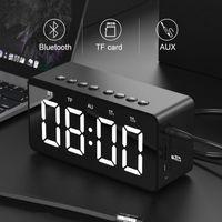 Alto-falantes Bluetooth portáteis LED Digital Despertador Espelho Som Estéreo BT506 Sem Fio Subwoofer Cartão TF Audio Home Speaker