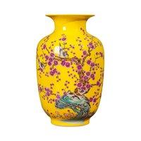Jingdezhen keramik gelb vase dekoration neu chinesisch klassisch wohnzimmer fernkabinett dekoration blume arrangieren vase