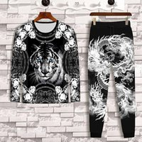 Men's Tracksuits Spring And Autumn Tiger Long Sleeve T-shirt + Chinese Dragon Trousers 2-piece Fashion Casual Clothes 3D Printing Suit