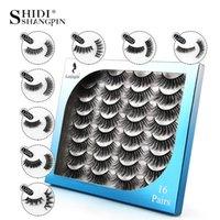 Fałszywe rzęsy Shidishangpin 16 Pair 3D Mink rzęsy Naturalne Crisscross Winged Gruby Długi Ręcznie Ręcznie Dramatyczne Faux Cils Makeup Akcesoria