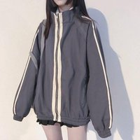 Women's Jackets Basic Women Spring Zipper Stand Collar Students Loose All-match Harajuku Womens Outwear Trendy Simple Striped