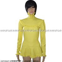 Blusa de látex atractiva amarilla con sopladores Mangas con volantes Camisa de goma Top Ropa de ropa 0157