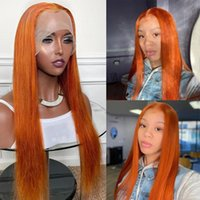 Ginger 360Lace Front Wig Bone Straight Human Hair Wigs Pre Plucked Remy Hairss 180% 13x4 Lace Frontal Wigss Orange Hairs for Women