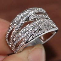 Size 5-10 Cross Band Ring for Women Brand New Luxury Jewelry 10KT White Gold Filled Party Pave White Sapphire CZ Diamond Female Rings Gift