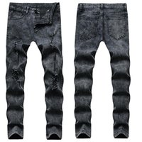 Jeans pour hommes européens et américains high Street Denim Denim Hole Mode Hommes Stretch