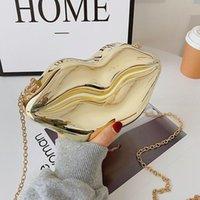 Sacs de bandoulière brune drôle pour femme 2021 Mode Sac à bandoulière de luxe en cuir Porte-monnaie à la lèvre de la lèvre Fête Fête Femme Sac