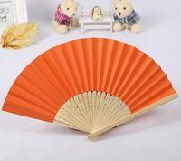 500ピース/ロットアート手作り中国のシルク折りたたみ竹のハンドファンの結婚式のファン