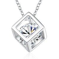 925 Sterling Silber quadratische Anhänger Halskette mit Zirkon Zarte schöne schöne Geburtstagsgeschenk Top Qualität Freies Verschiffen 96 R2
