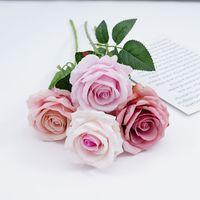 장식 장미 인공 꽃 실크 꽃 꽃 라텍스 진짜 터치 장미 결혼식 꽃다발 홈 파티 디자인 꽃