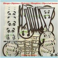 Empaquetado Cena Servicio Embalaje Oficina Escuela Negocio Industrial20 Personas Lindo Encantador Panda Panda Vajilla Set Niños Feliz Cumpleaños Niños B