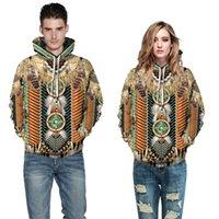 Hot Indian digital print men's long sleeve hoodie loose casual fashion brand fall winter