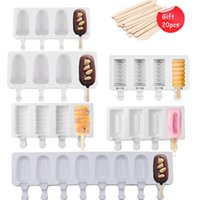 Baking Moulds 4 8 Hole Silicone Ice Cream Forms Popsicle Molds DIY Homemade Dessert Freezer Fruit Juice Cube Maker Mould With Sticks