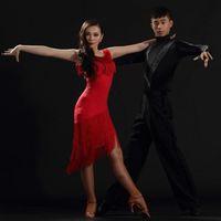 Сценическая одежда 2021 леди Латинская танцевальная практика / производительность платья черная красная кисточка женская одежда для CHA CHA / Ruma / Samba / латинские танцевальные юбки