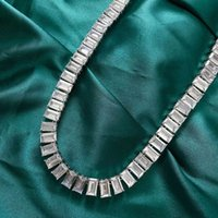HBP luxury new high carbon Copper Plated Platinum style women's geometric fashion white diamond 6 * 10 necklace