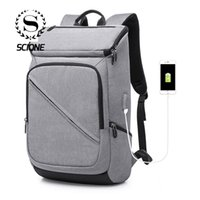 Backpack Scione Arrive Men Fashion USB Charging Multi-function Casual Laptop Bags Simple Travel Bag For Boys Student Backpac
