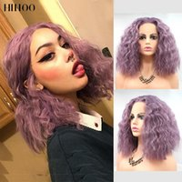 Synthetic Wigs Bob Wig Short Hair Afro Kinky Curly For Black Women Cosplay Lolita Lace Front Pink Purple 14inch