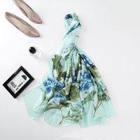 Lenços est projeto mulheres luxo seda cachecol floral femme impressão requintado pashmina xale feminino foulard echarpe azul rosa