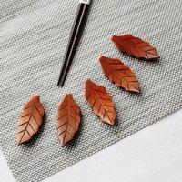 Yemek çubukları 5 adet Yaprak Şekli Ahşap Tutucu Bıçak Kaşık Dinlenme Standı Çatal Raf Çerçeve Sanat Zanaat Yemeği Sofra Mutfak Aksesuarları