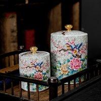 Amplio exquisito té de cerámica Caddy Portátil Portátil Jarrón de viaje Cajas de té Spice Caramelo Tanque de almacenamiento Comida Contenedor Decoración para el hogar