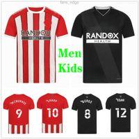 2021 2022 Sheffield Futbol Formaları Mousset Berge Birleşik 21 22 Norwood Keskin McBunnie Lundstram Fleck Özel Ev Uzaktan Futbol Gömlek Yetişkin Adam Çocuk Kiti Üniforma