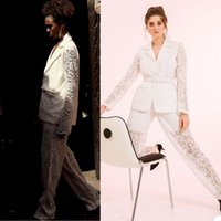 Fashion Lace Women Suits With Belt Illusion Bridal Party Prom Tuxedos Blazer Red Carpet Leisure Outfit Suit(Jacket+Pants)