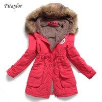 Fitaylor Kış Kadın Ceket Orta-Uzun Kalınlaşmak Dış Giyim Kapüşonlu Patlanmış Ceket İnce Parka Pamuk-Yastıklı Palto 211013