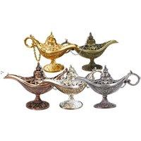 Masal Aladdin Sihirli Lamba Vintage Buser Yaratıcı Metal Aroma Brülör Tütsü Brülörler Noel Hediyesi Düğün Hediyeleri OWF10181