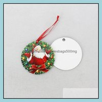 Decorations Festive Party Supplies Home & Garden70Mm Sublimation Blanks Christmas Wooden Tree Ornament Hanging Pendant Heat Press Transfer P