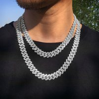 Mens 12MM Iced Cuban Link Prong Chain 14K White Gold Plated 2 Row Diamonds Necklace Cubic Zirconia Jewelry 16-24inch Length