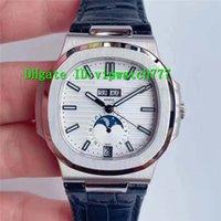 PF Nautilus ежегодный календарь Moonphase 5726 мужские часы роскошные часы SWISS 324SC Автоматический 28800VPH белый / серый / синий циферблат сапфировый кристалл