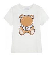 أطفال بلايز الأولاد كبار الفتيات المحملات 2021 حار بيع قصيرة الأكمام تيز الأطفال تنفس حرف المطبوعة مع الدب نمط القمصان البلوز