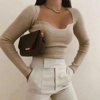Camisolas femininas 2021 mulheres camisola de malha superior manga longa coração-pescoço casual moda mulher magro-ajuste aperto de malha aperto