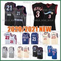 Allen 3 Iverson Jersey Joel 21 Embiid Ben 25 Simmons Julius 6 Erving Philadelphias Mens 2020 2021 Basketbol Formaları 2020/21