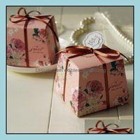 Gift Event Festive Supplies Home & Gardengift Wrap 100Pcs Trapezoid Green   Purple Blue Floral Printed Flower Wedding Favors Candy Boxes Par