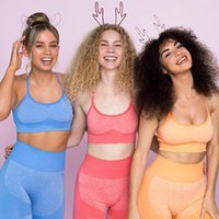 Yoga Outfit Seamless Set 2 Piece Trainings Suit Female Workout Sports Bra+High Waist Push Up Gym Leggings Women Sportwear