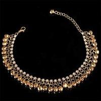 Anklets Gold Silver Color Beach Bells Anklet Bracelets Charm For Women Alloy Bulk Heart Leg Bracelet Nation Accessories Jewelry