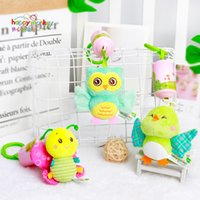 Cartoon Infant Rattles Crib Mobiles Newborns Baby Soft Plush Toys with Handbells Teether Musical Educational Toy 0-12 Months for Christmas Gift