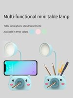 Novelty Lighting Mini Cartoon Table Led Desk Lamp With Pencil Sharpener Pen Holder cutting knife phone stand Eye Protection Reading Night Light For Student Study