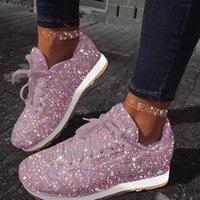 2021 Yeni Kadın Tıknaz Sneakers Düz Vulkanized Ayakkabı Kadın Lace Up Moda Bling Sonbahar Rahat Ayakkabı Büyük Boy Aivv