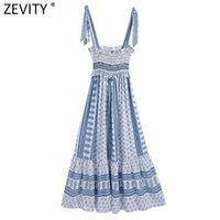 Zevity Donne Fashion Blu e Bianco Porcellana in porcellana Vestito da imballaggio Femmina Casual Bow Legato Strap Vestido Chic Abiti retrò DS8348 210608