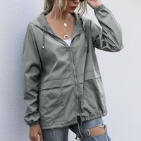 Women's Jackets Waterproof Women Jacket Streetwear Casual Solid Zipper Long Sleeve Bomber Raincoat Basic Autumn Outwear Sports